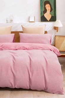 Dreamaker Reversible Cotton Waffle Jersey Knit Quilt Cover Set - 292886