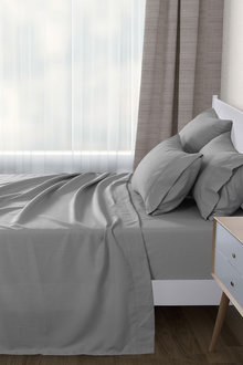 Dreamaker 1000Tc Ultra Soft Flat Fitted Sheet Set Bed Microfibre - 292943