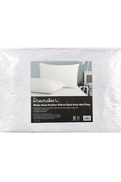 Dreamaker White Duck Feather Pillow - 48 X 73Cm (2 Pack)