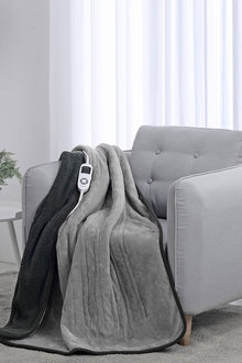 Dreamaker Reversible Heated Throw Blanket Two Tone (Charcoal/Silver)- - 292997
