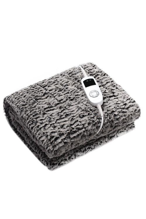 Dreamaker Premium Faux Chinchilla Fur Heated Throw Blanket - 160 X 120Cm