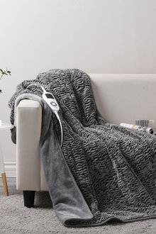 Dreamaker Premium Faux Chinchilla Fur Heated Throw Blanket - 160 X 120Cm - 292998