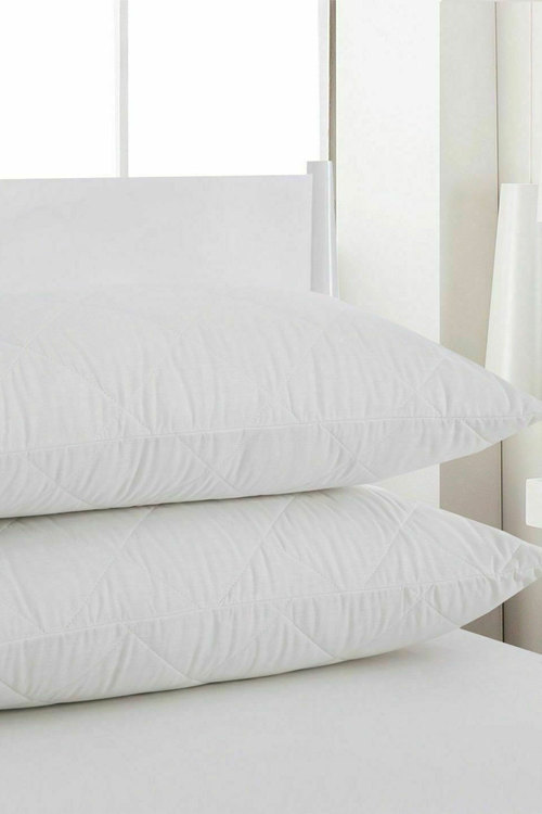Dreamaker Cotton Cover Quilted Pillow Protector - 48 X 73Cm (2 Pack)