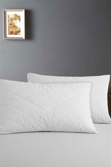 Dreamaker 100% Cotton Quilted Pillow Protector - 48X73Cm (2 Pack) - 293081