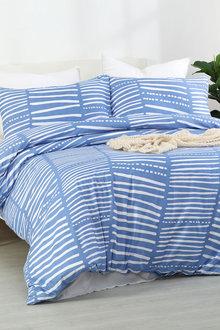 Dreamaker Printed Quilt Cover Set Broken Stripes - Queen Bed - 293105