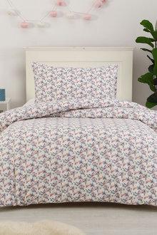Dreamaker Printed Quilt Cover Set Burst Of Flowers - Single Bed - 293106