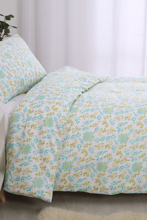 Dreamaker Printed Quilt Cover Set Soft Paisley - Single Bed