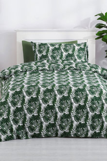 Dreamaker Printed Quilt Cover Set Soft Palms - Single Bed - 293111