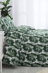 Dreamaker Printed Quilt Cover Set Soft Palms - Single Bed