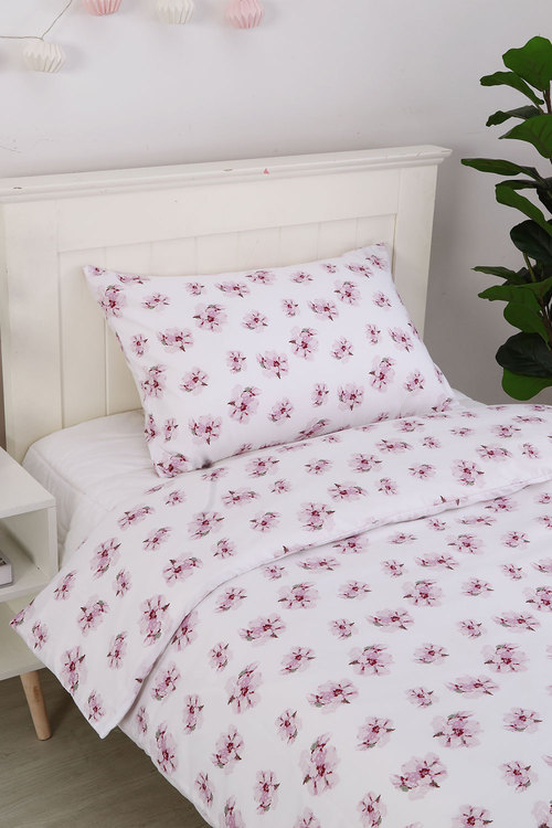 Dreamaker Printed Quilt Cover Set Purple Posey - Single Bed