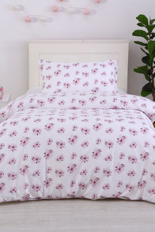 Dreamaker Printed Quilt Cover Set Purple Posey - Single Bed - 293115