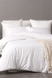 Dreamaker Cotton Waffle Quilt Cover Set Queen Bed - White - 293120