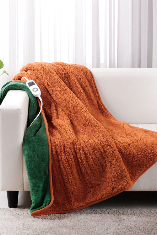 Dreamaker Reversible Sherpa And Coral Fleece Heated Throw - Sherpa Rust