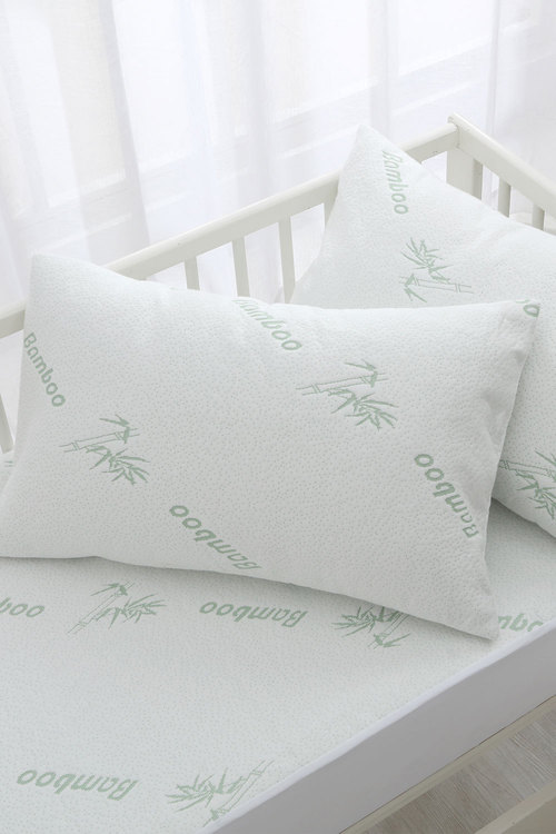 Dreamaker 260GSM Bamboo Knitted Waterproof Pillow Protector White 2 Pack