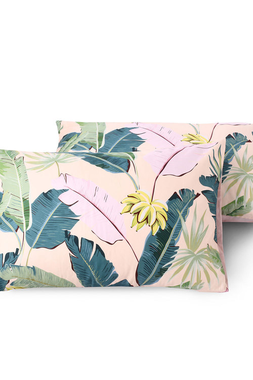 Dreamaker 300Tc Cotton Sateen Printed Standard Pillowcase 2 Pack Pink