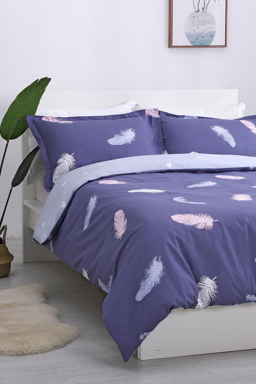 Dreamaker 250Tc Cotton Sateen Printed Quilt Cover Set Feathers