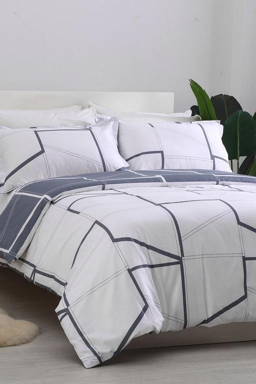 Dreamaker 250Tc Cotton Sateen Printed Quilt Cover Set Creme