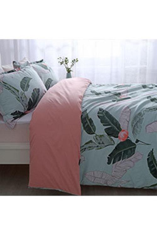 Dreamaker 250Tc Cotton Sateen Printed Quilt Cover Set Coconut