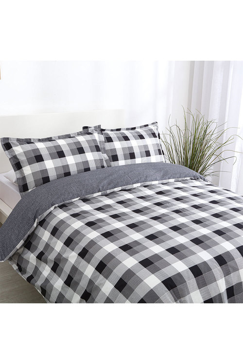 Dreamaker 250Tc Printed Cotton Sateen Quilt Cover Set Chess