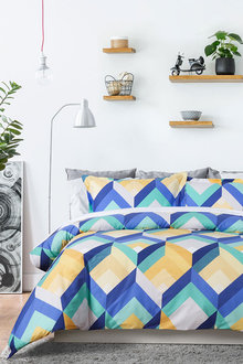 Dreamaker 250Tc Printed Cotton Sateen Quilt Cover Set Yarm - 293179