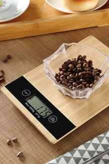 Gourmet Kitchen Bamboo Square Digital Food Scale - 293238