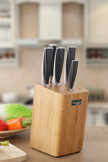 Gourmet Kitchen 6 Piece Stainless Steel Rubber Handle Chef Knife Set - 293256
