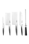 Gourmet Kitchen 6 Piece Stainless Steel Rubber Handle Chef Knife Set