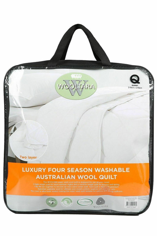 Wooltara Luxury Four Season Two Layer Washable Australian Wool Quilt