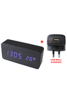 TODO Blue Led Wooden Alarm Clock Temperature Display USB Wall Charger