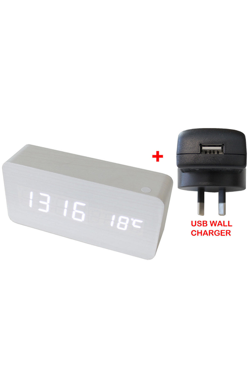 TODO White Led Wooden Alarm Clock Temperature Display USB Wall Charger