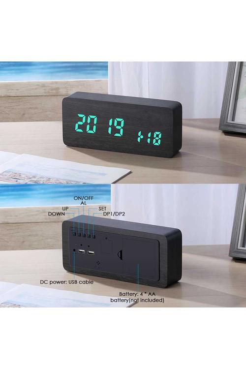 TODO LED Woodgrain Digital Alarm Clock