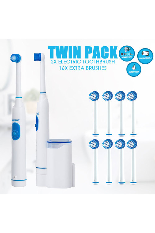 TODO 2Pcs Rechargeable Electric Toothbrush
