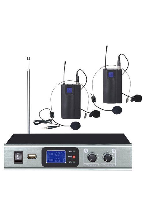 TODO Wireless Headset Microphone Dual Channel Head Mic