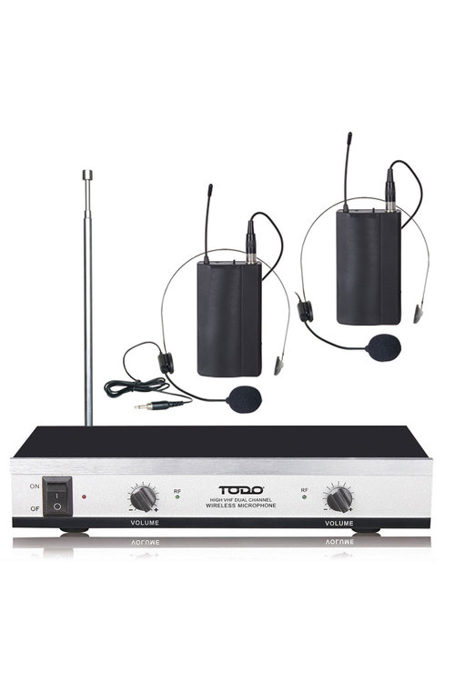 TODO Wireless Headset Microphone Twin Head Mic