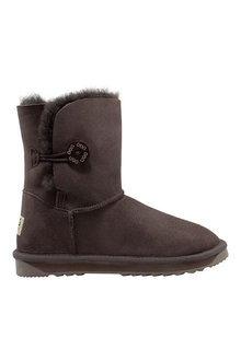 Comfort Me Australian Made Mid Bailey Button Ugg Unisex Boots Chocolate - 294074