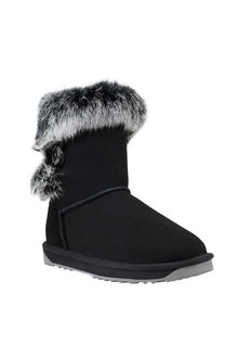 Comfort Me Fur Trim Bailey Button UGG Ladies Boots Black - 294128