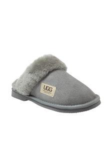 Comfort Me Ugg Merino Sheepskin Fur Trim Unisex Scuffs Memory Foam Grey - 294184