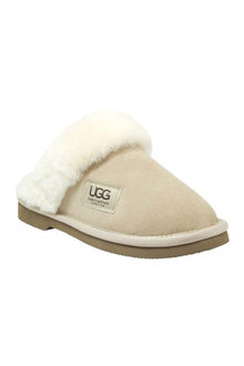 Comfort Me Ugg Merino Sheepskin Fur Trim Unisex Scuffs Memory Foam Sand - 294186