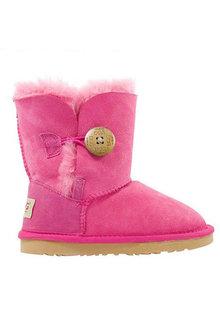 Comfort Me Ugg Kids Button Sheepskin Unisex Boots Bao Pink - 294218