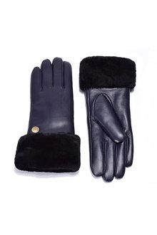 Comfort Me Ugg Australian Sheepskin Leather Gloves Navy Womens Chloe - 294443