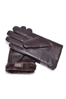 Comfort Me Ugg Sheepskin Leather Gloves Chocolate Men's Cole - 294444