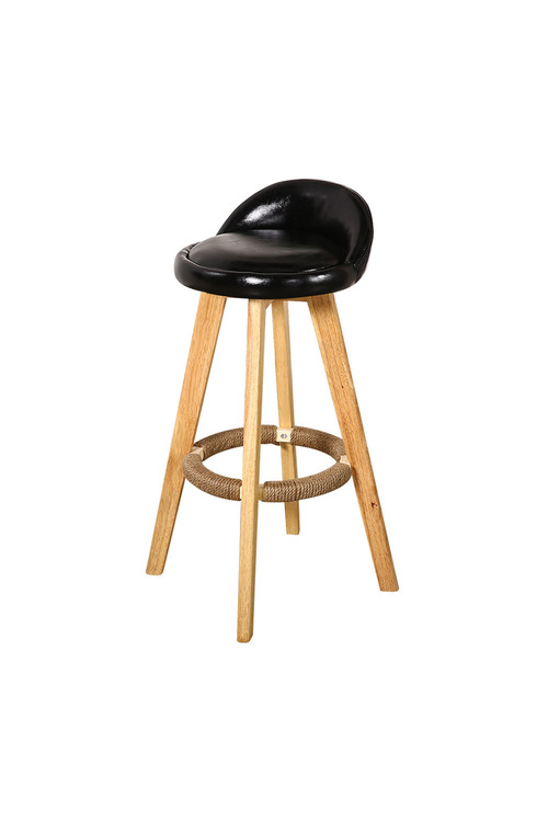 Levede 2 Pcs Wooden Swivel Bar Stool with Leather Seat Black Colour