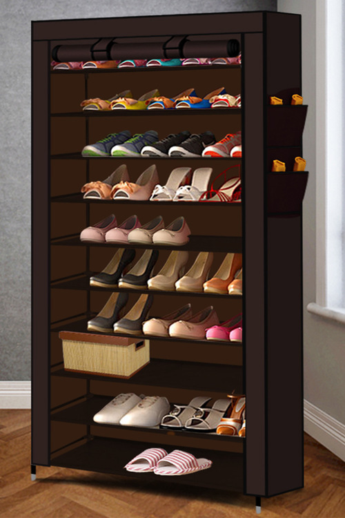 Levede 10 Tier Poratable Shoe Rack With Cover