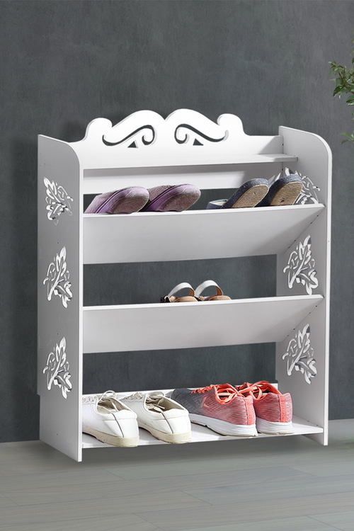 Levede 4 Tier Width 12 Pairs Chic Hollow Out Shoe Rack