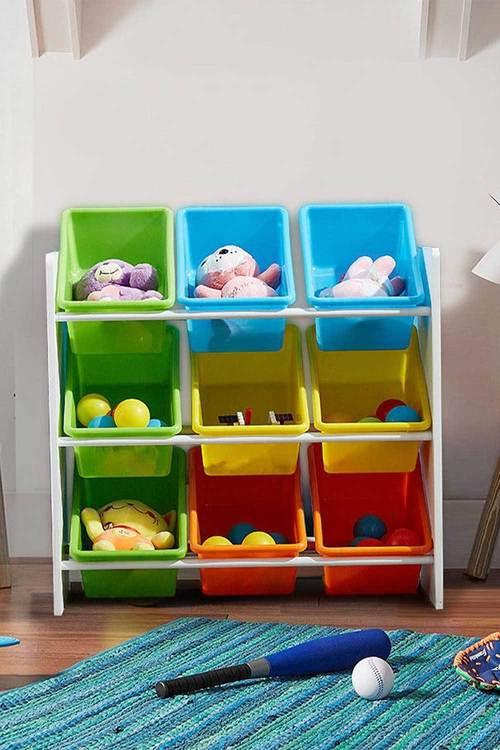Levede 3 Tier Wooden Kids Toy Organizer Bookshelf With 9 Plastic Bins