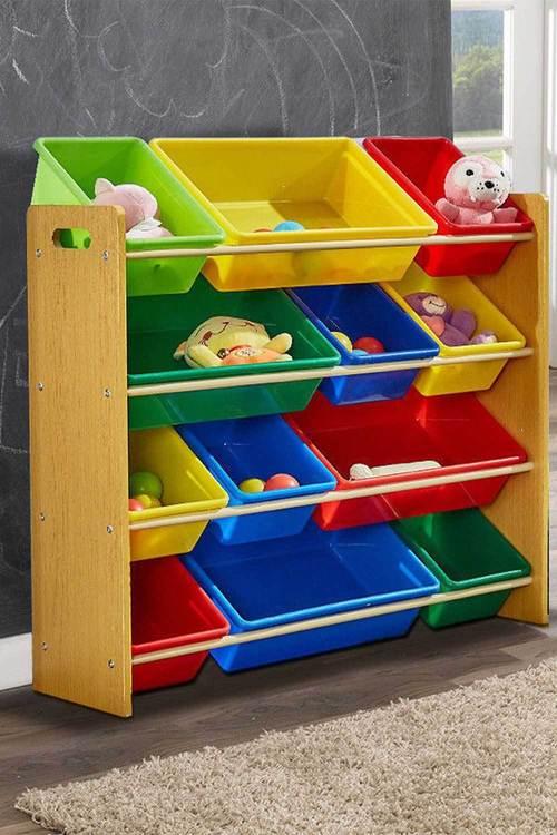 Levede 4 Tier Wooden Kids Toy Organizer Bookshelf with 12 Plastic Bins