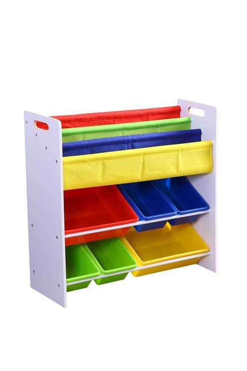 Levede 3 Tier Wooden Kids Toy Organizer Bookshelf with 6 Plastic Bins