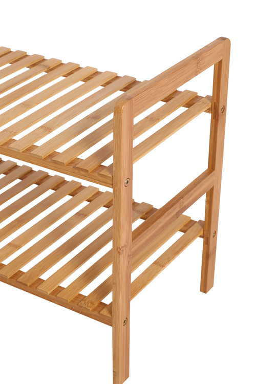 Sherwood Home 2-Tier Essential Natural Bamboo Shoe Rack