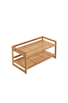 Sherwood Home 2-Tier Natural Bamboo Shoe Rack with Curved Sides - 296957