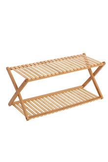 Sherwood Home 2-Tier Portable Natural Bamboo Shoe Rack - 296959
